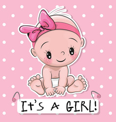 greeting card it is a girl with baby vector image vector image