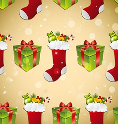 New year pattern with sock for gifts and gift vector image