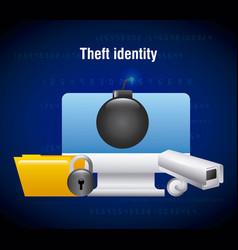 theft identity computer technology folder camera vector image