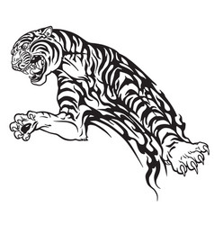 tiger tribal black and white vector image