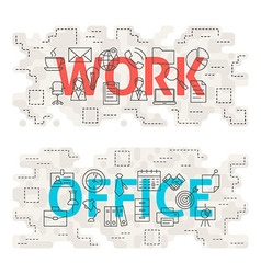 Work Office Line Art Concept vector image vector image