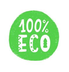100 percent eco food green sign vector image
