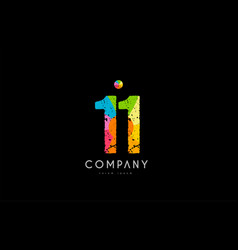 11 number grunge color rainbow numeral digit logo vector image