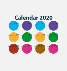 2020 calendar templatecalendar 2020 set of 12 vector image