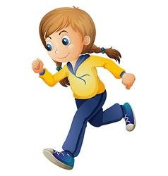 A cute girl jogging vector image