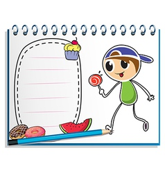 A notebook with a drawing of a boy eating a vector image vector image