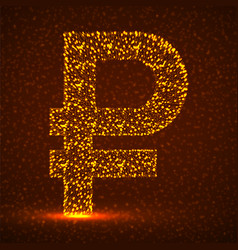 Abstract sign russian ruble glowing particles vector