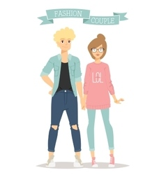 Beautiful cartoon couple fashion clothes vector image