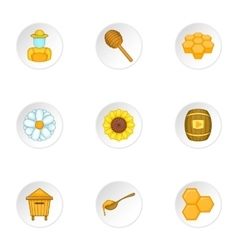 Beekeeping farm icons set cartoon style vector