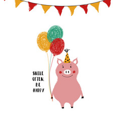 birthday card with smiling pig vector image