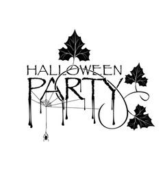 black lettering halloween party on white backdrop vector image