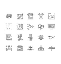 blockchain line icons signs set outline vector image