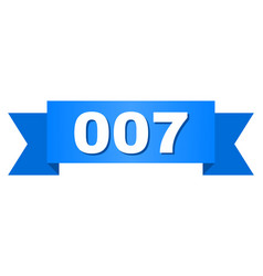 Blue ribbon with 007 text vector