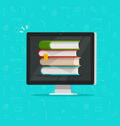 Books stack on computer screen vector