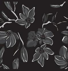 botanical dark summer orchid black white print vector image