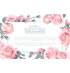 Botanical horizontal banner with roses vector