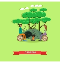 Camping with tent concept in vector image