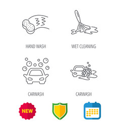 car wash icons cleaning station linear signs vector image