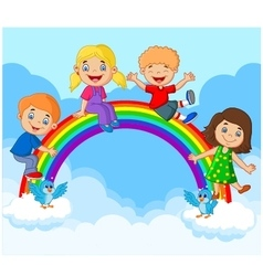 Cartoon Happy kids sitting on rainbow vector