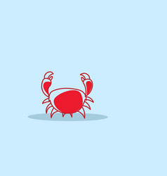 cartoon red crab icon fresh seafood concept hand vector image