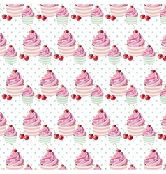 Cherry cupcakes pattern vector image
