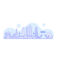 chicago skyline usa city buildings linear vector image