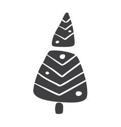 Christmas tree icon silhouette simple vector