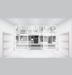 City street open doors store interior 3d shop vector