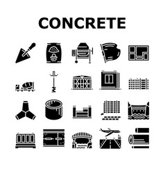 Concrete production collection icons set vector