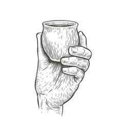 cup in hand sketch drink drawn vintage vector image