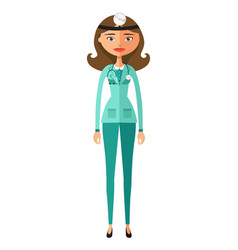 cute cartoon doctor character flat cartoon vector image
