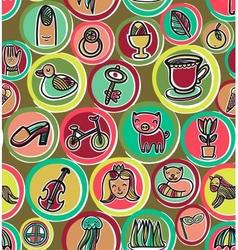 Cute colorful cartoon pattern vector image