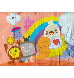 Cute monster hand drawn monster group pastel vector