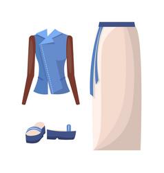 Denim jacket long skirt with belt and flipflops vector