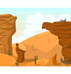 Desert landscape with cactuses and mountains vector