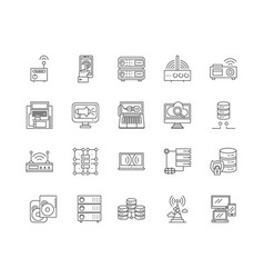 digital connect line icons signs set vector image