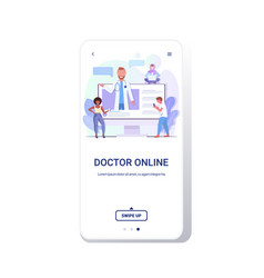doctor consulting mix race patients giving vector image