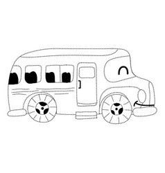 Dotted shape kawaii smile school bus transport vector