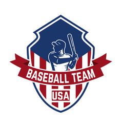 Emblem template with baseball player design vector