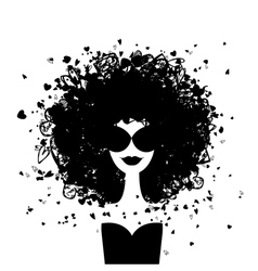 Fashion woman portrait for your design vector image