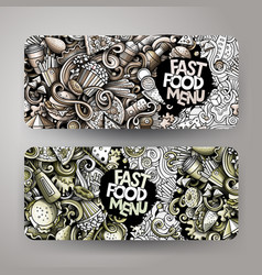 fastfood hand drawn doodle banners set cartoon vector image