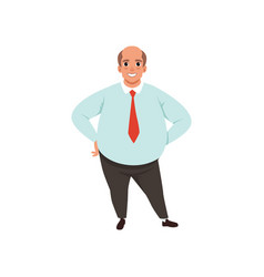 Fat adult man with bald head cartoon male vector