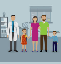 Father and mother with two kids visit doctor s vector