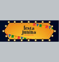 festa junina lights decoration celebration banner vector image