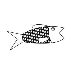 fish fresh food healthy cartoon vector image