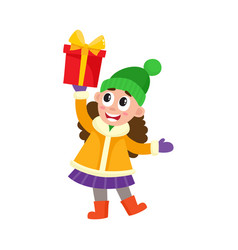 flat girl holding present box vector image