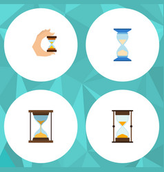 Flat icon hourglass set of instrument measurement vector