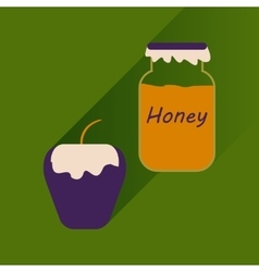Flat icon with long shadow honey and apple vector
