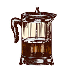 french press for making coffee in vintage style vector image