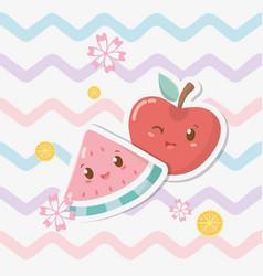 fresh apple and watermelon fruits kawaii vector image